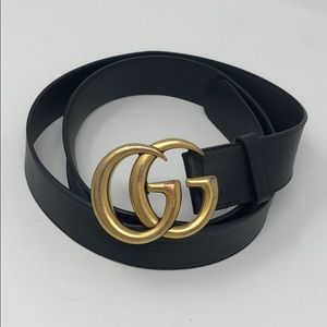 Gucci Black Leather Belt w/ Double G Buckle